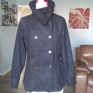 NWT new look dark gray double breasted pea coat
